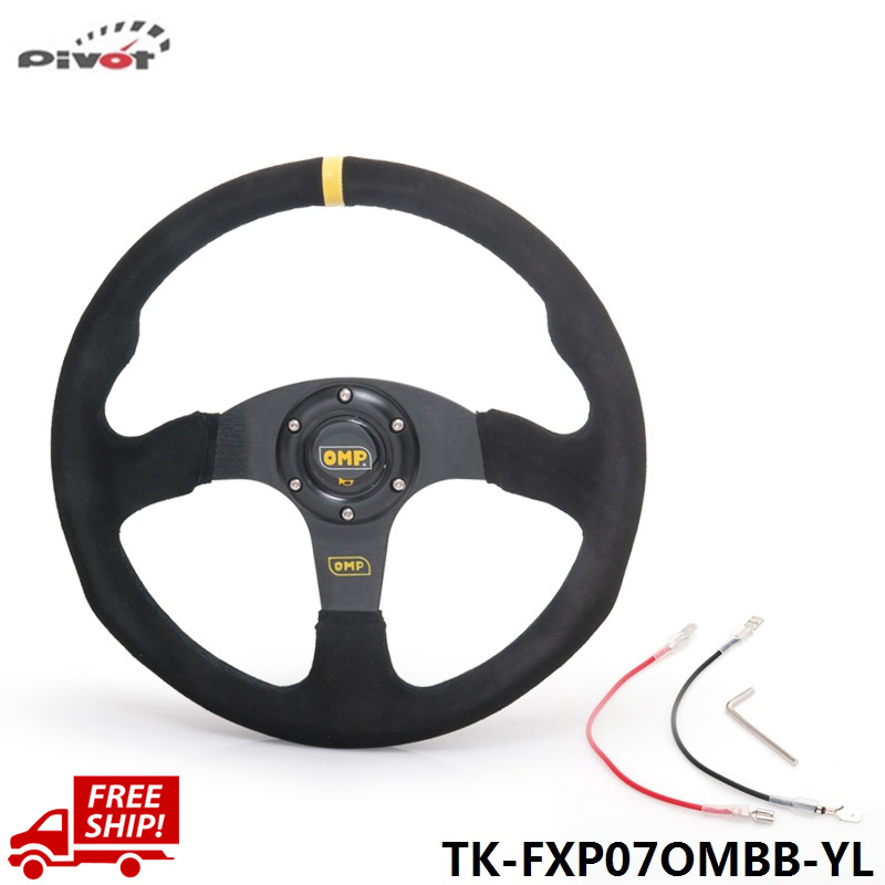 Tansky Steering Wheel 14 inch 350mm Racing Car Steering Wheel Suede Leather Drifting Steering Wheels TK-FXP07OMBB-YL-FS(China (Mainland))