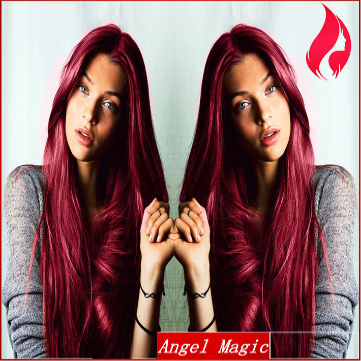 Red Full Lace Virgin Brazilian Human Hair Wig With Baby Hair Fringe For Black Women 2015 Hot Fashion New Style Free Shipping(China (Mainland))