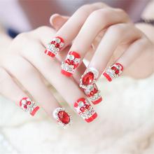 Amazing 24PCS Finished False Nails with 3D Red Rhinestone  Decoration False Fake Nail Art Tips for Lady/Women Manicure Art(China (Mainland))
