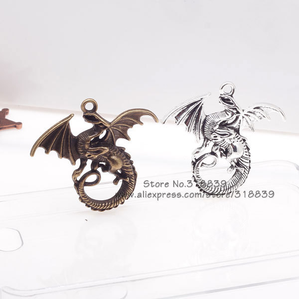 Big Fly Dragon Charms Vintage Metal Zinc Alloy Fine Trendy Animals Pendant for Jewelry 10pcs 43*46mm 8026(China (Mainland))