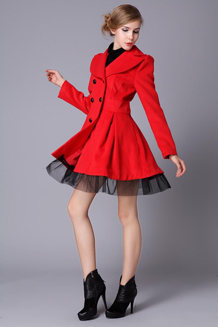 Ladies Red Dress Coat