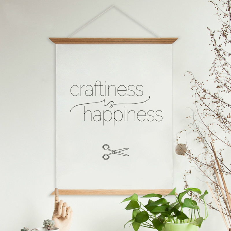 Modern Fresh Words Print Craftiness Happiness Wooden Poster Hanger Wall Decorative Poster Frame Scroll Hang Art Photo Prop(China (Mainland))