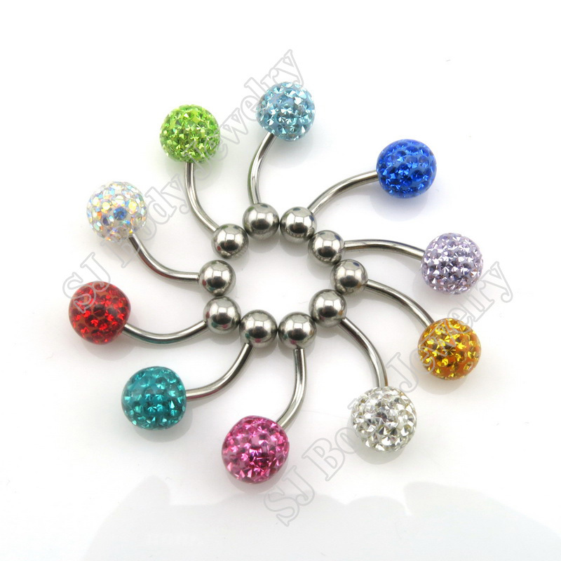 1 Pcs 14G Navel Bar Piercing Ring Ferido Ball Epoxy CZ Gem Belly Button Rings Curved Barbell Body Pircing Jewelry