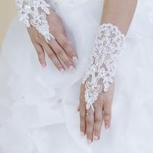 2015 Hot venta blanca de la boda de cuentas de encaje para el vestido de boda guantes sin dedos de novia tamaño libre accesorios de la boda X5456(China (Mainland))