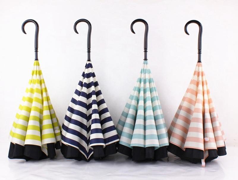 Navy Upside Down Umbrella Fashion Reverse Design Opposite Folding ...