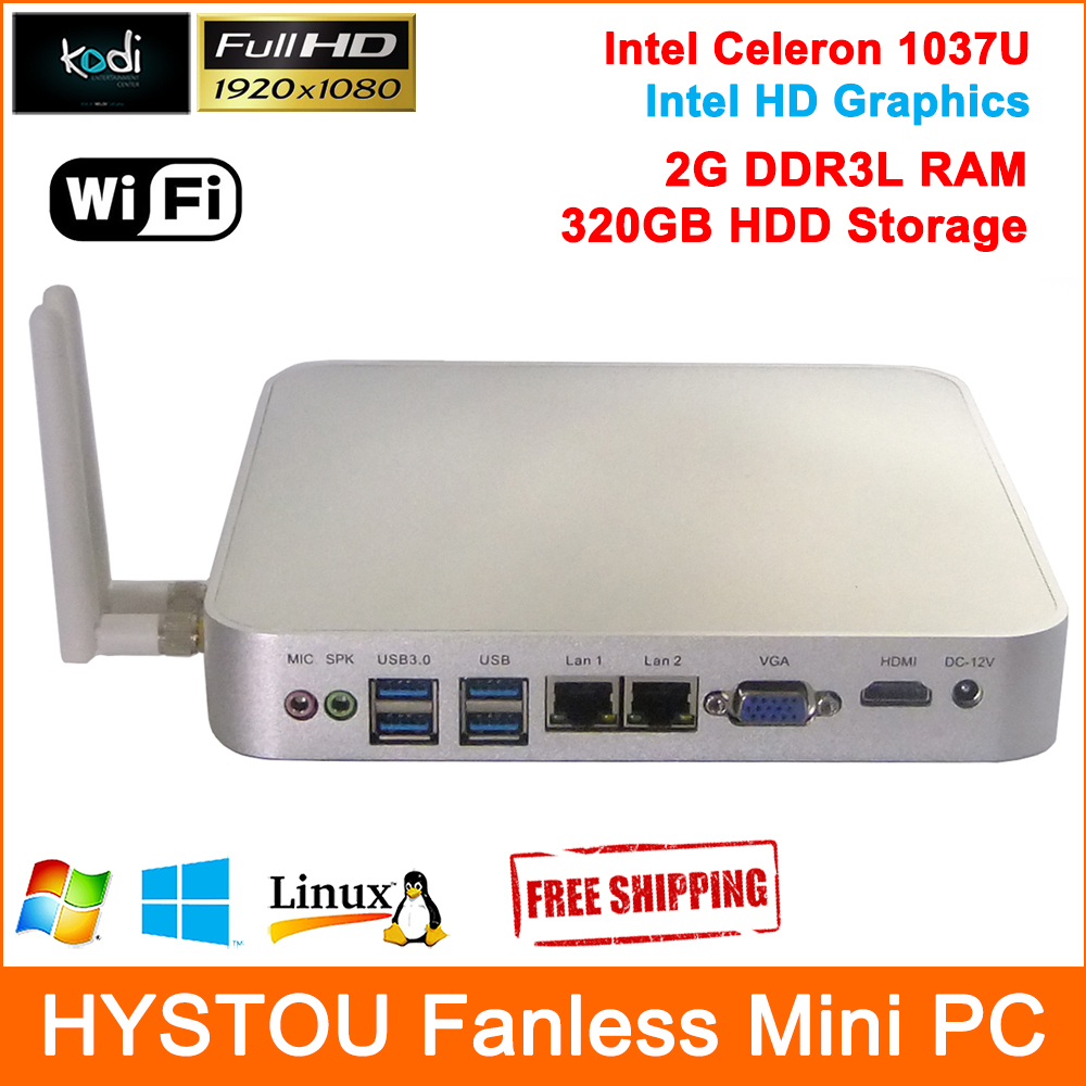 12V Low Power PC Cheap Desktop Computer Aluminum Case Celeron 1037U CPU 2G RAM 320G HDD HDMI 2 RJ45 Gigabit Lan Speed upto 1Gbps(China (Mainland))