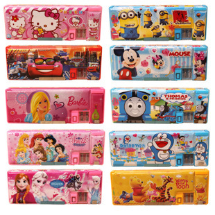 micky Big hero hello kitty Despicable Me pencil case pen lovely children toy red blue compass wholesale(China (Mainland))