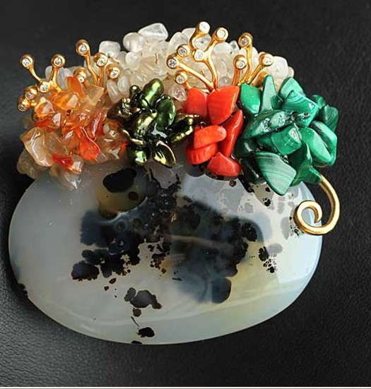 Здесь можно купить  Free Shipping Natural Agate Brooch Pendant With Coral peacock stone and freshwater pearls Free Shipping Free Shipping Natural Agate Brooch Pendant With Coral peacock stone and freshwater pearls Free Shipping Ювелирные изделия и часы