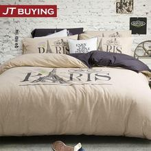 Bed Set Hot Sale 2015 New Close Naked Bedding Sets Tianzhu Comforter Knitting 4pc No Creases Cotton Sheets Eiffel Tower Printed(China (Mainland))
