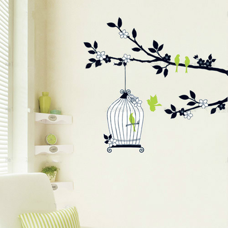 free shipping details about birdcage birds tree removable flower amp girl removable wall art sticker vinyl decal diy