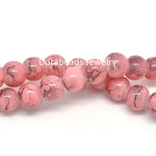 "Doreen Box hot-  2 Strands(about 2x125PCs) Pink Mottled Round Glass Loose Beads 6mm(2/8""), 80cm(31 4/8"") (B20141)(China (Mainland))"