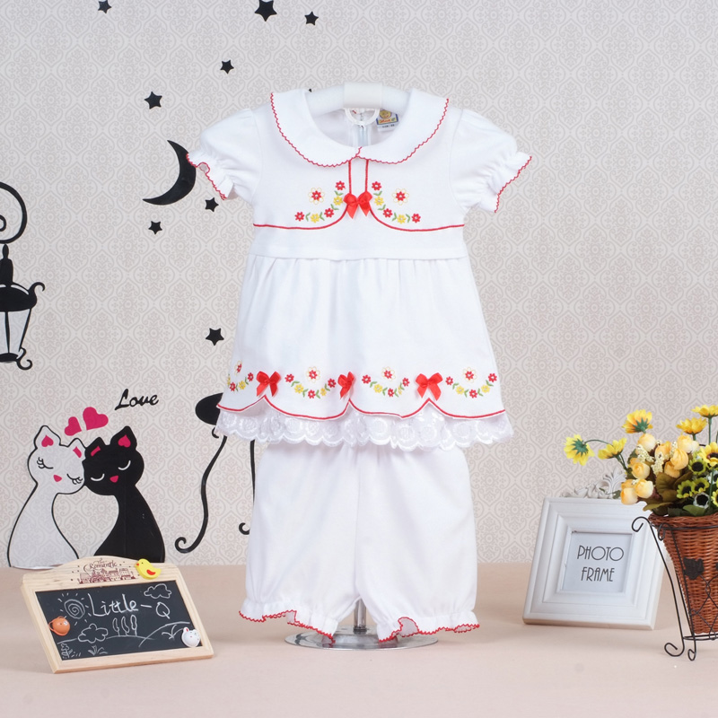 2017 hot fashion baby girls summer pure cotton clothing set children dress+short pants t shirt kids newborn Toddler outfits(China (Mainland))