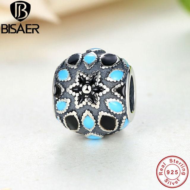 BISAER Стерлингового Серебра 925 Цветочные Серебро 3 Оттенки Голубой Эмали, Бисера ...