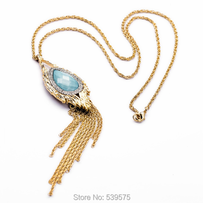 New 2014 Brand Water Fringed All-match Long Necklace New Arrival 18k Gold Necklace For Women(China (Mainland))
