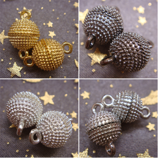 Hot 10 12mm 5sets/lot Gold Black Silver Plated Magnetic Necklace Crystal Ball CLASP Findings Pick Size Free Shipping(China (Mainland))