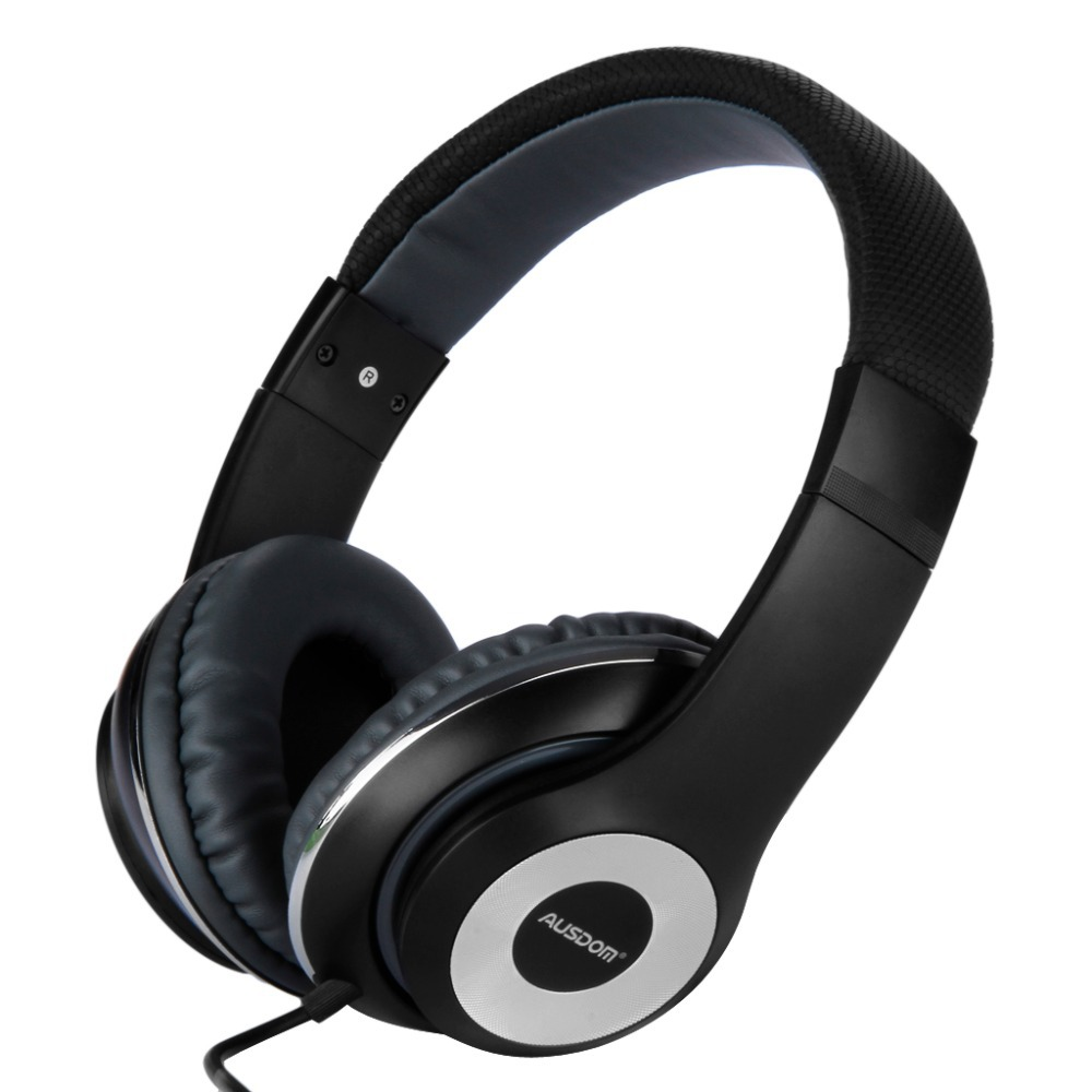 Hot Original AUSDOM F01 Headphone with Built-in MIC/Super Bass /Stereo Sound/ Soft Leather Ear Cup for PC/iOS/Android Headset(China (Mainland))