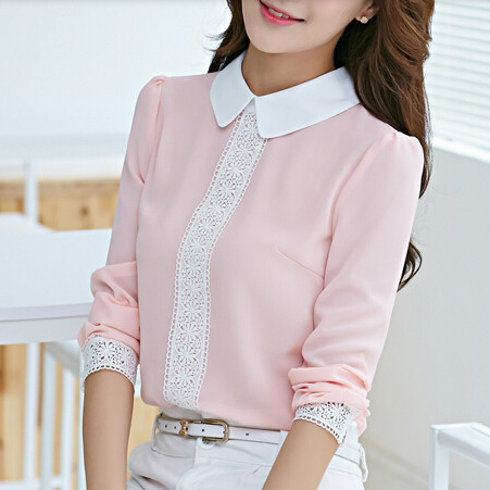 New arrival 2016 Autumn Peter pan collar chiffon blouse, Women's long sleeve Lace Crochet top blouses, women pink blusas shirts(China (Mainland))
