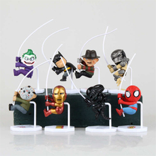 8pcs/set Famous Character Q Version Spiderman Batman Iron Man Alien Joker Predators Freddy Jason PVC Action Figure Toys(China (Mainland))