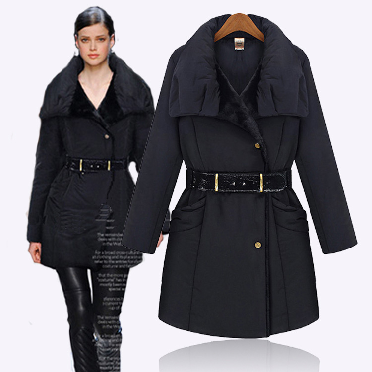 Winter Suit 2015 Fashion Long Black Quilted Jacket Women Thin Belt Decoration Chamarras De Mujer ...