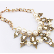 Hot Selling Europe And The United States Jewelry Accessories Super Star Fashion Imitation pearl necklace Metal