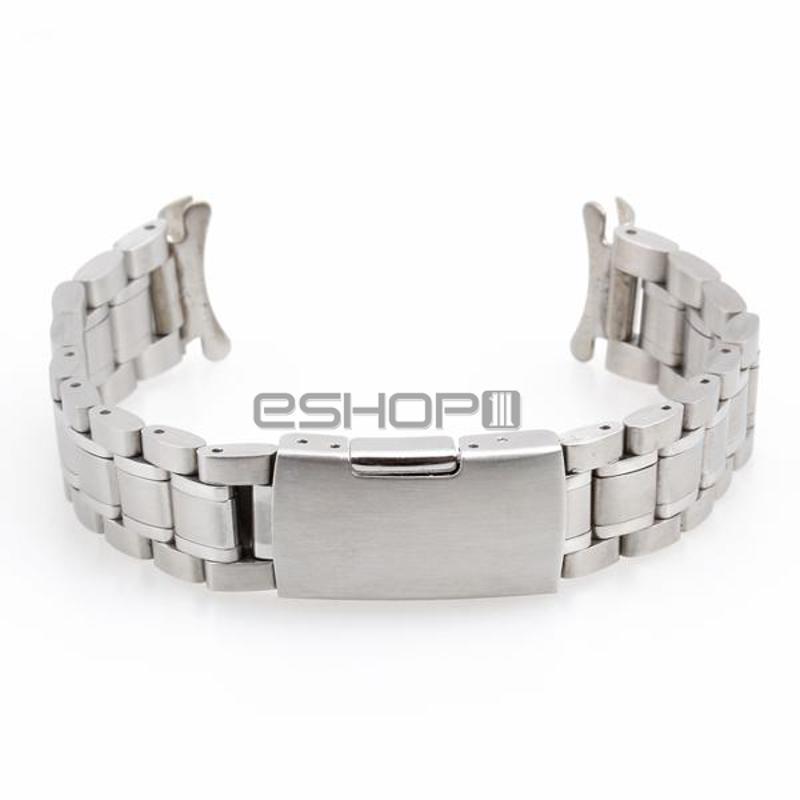 Men Women 19mm Silver Steel Watch Band Strap Bracelet Curved End<br><br>Aliexpress