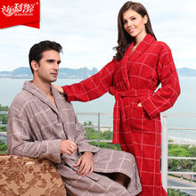 Hilift 100% cotton bathrobes toweled lovers cotton bathrobe thickening robe(China (Mainland))