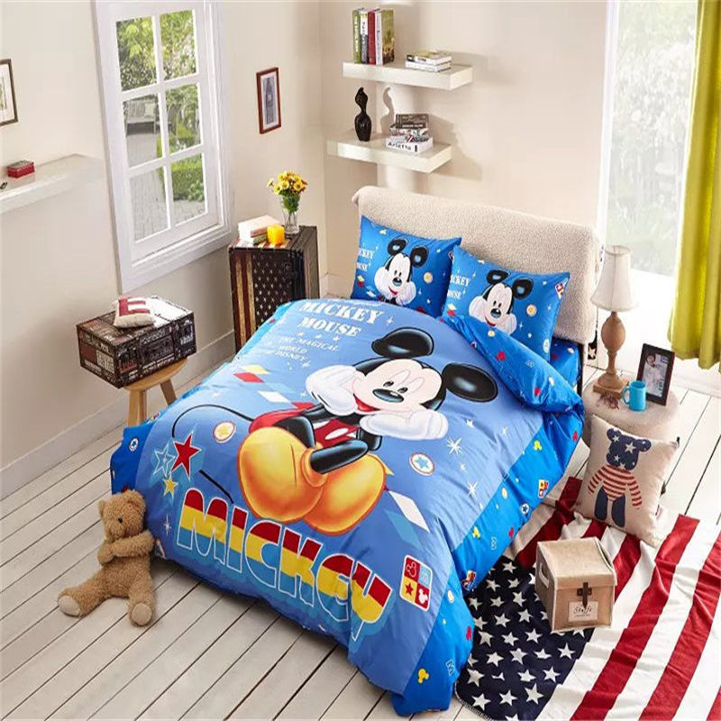 New Arrival Blue Bedding Mickey Mouse Bedroom Comforter Sets Cute Baby Duvet Sets(China (Mainland))