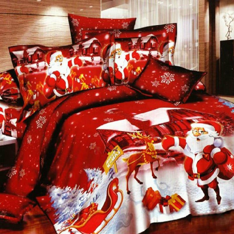 Red Santa Claus Bedding Set King / Queen Size Xmas Gifts Kids Christmas Cartoon Duvet Cover BedSheets Pillowcase Bed in a Bag(China (Mainland))