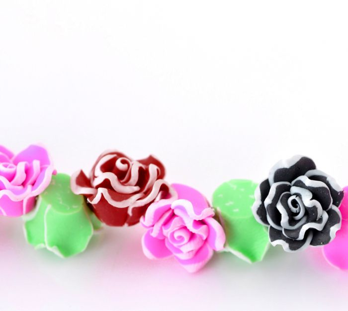 Clay Loose Beads Rose Flower Mixed Color For Bracelet & Necklace 11x9mm,40cm long,1 Strand(about 50PCs) Mr.Jewelry(China (Mainland))
