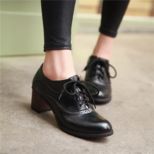 British Punk Retro Womens Vintage Brogue Lace Chunky Mid Heels Wing Tip Oxford Shoes Plus Size 4 Colors US4.5-10.5