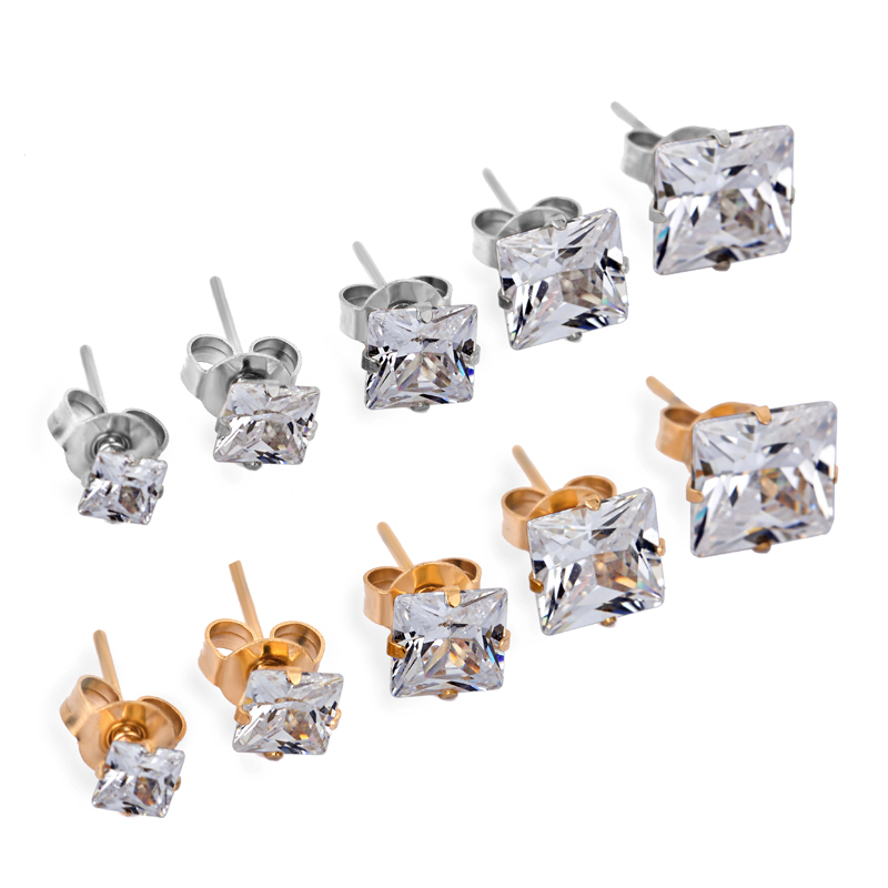 Fancy Anti allergy 316L stainless steel Pure square zircon stud earrings jewelry18K yellow Gold&Silver plated for men and women(China (Mainland))