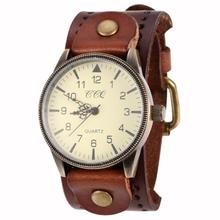 2014 New Unisex Vintage Punk Genuine Leather Bracelet Wrist Watch with Wide Band Big Dial Watch Hours for Men Women