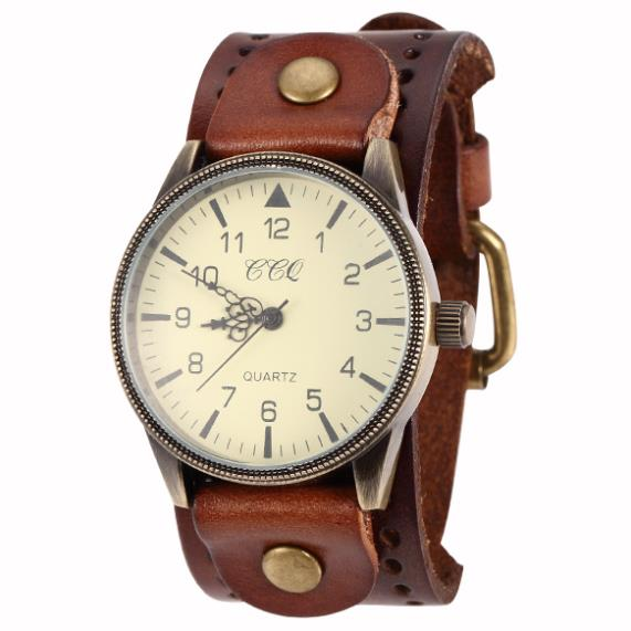 2014 New Unisex Vintage Punk Genuine Leather Bracelet Wrist Watch with Wide Band Big Dial Watch Hours for Men Women(China (Mainland))