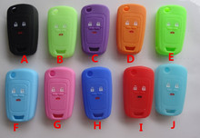 Hot silicone car key cover case shell Holder fob for Chevrolet Cruze AVEO SAIL TRAX MALIBU CAPTIVA 3 Buttons variety of colors()