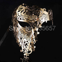Free Shipping Silver,Black Gold 3 Color Phantom Laser Cut Venetian Mask Masquerade Metal Men or Women Skull Filigree for party(China (Mainland))