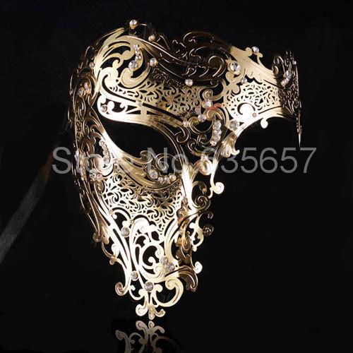 Free Shipping Silver,Black Gold 3 Color Phantom Laser Cut Venetian Mask Masquerade Metal Men or Women Skull Filigree for party(China (Mainland))