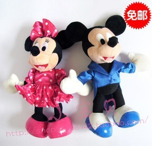 Free ship children/kid/baby pp cotton Stuffed Toy birthday gift doll plush toys mickey and minnie 2pes/lot 30cm(China (Mainland))