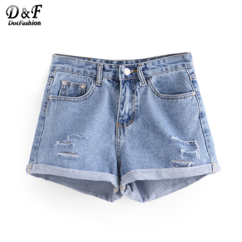 Dotfashion Ladies Summer 2016 New Ripped Rolled Hem Denim Shorts Women Casual Sexy Button Fly Ripped Pockets Shorts(China (Mainland))