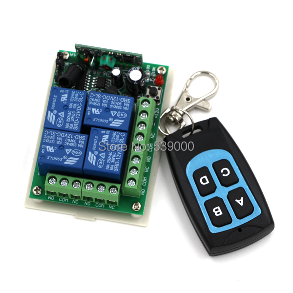 Wireless DC 12V 4CH Remote Control Switches teleswitch 4 Buttons Transmitters + Receiver <br><br>Aliexpress