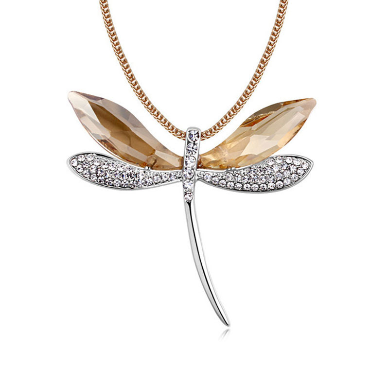 High Quality Box Package Fashion SWA Crystal Fine Jewelry 80 CM Gold Long Necklace For Women With Dragonfly Pendant 2015 New(China (Mainland))