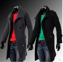 Fashion Male Slim Designed Men Trench Coat Cotton Cool Long Sleeves Trench Coat Men Black Dark Grey Overcoat Men(China (Mainland))