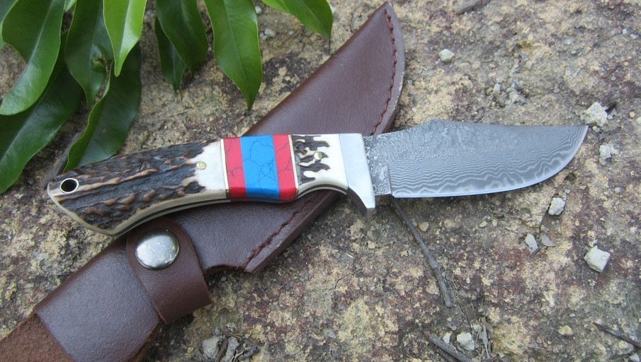 Buy Super Cool Damascus Straight Knife Outdoor Self-defense Survival Sport Rescue Camping Fixed Knives Free Shipping cheap
