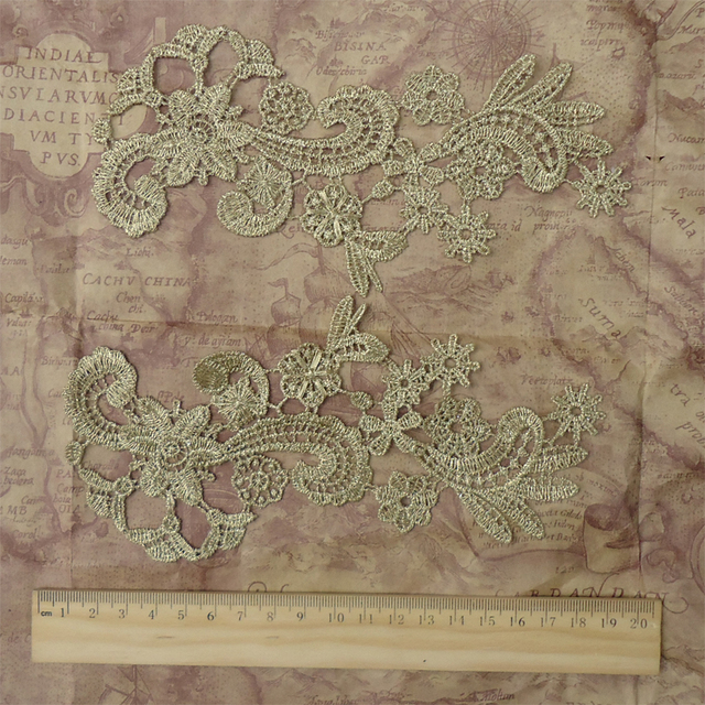Buy gold metallic embroidery flowers lace for Mirror 18 patch