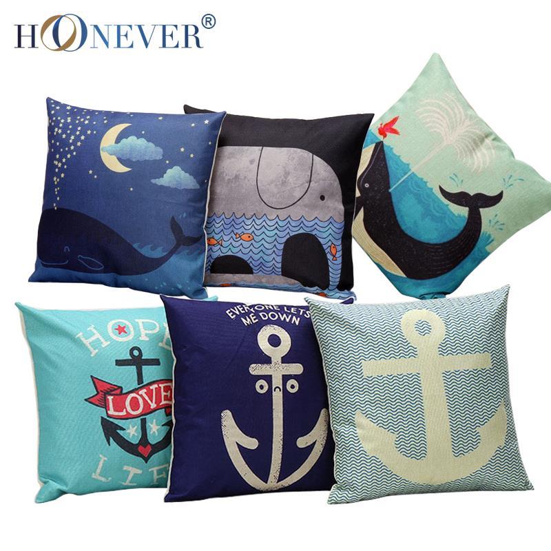 Anchor Cushion Cover Cotton Linen Sea Whale Throw Pillow Cover Cushion Case Sofa Bed Decorative Pillows(China (Mainland))