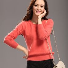 High-End 2015 HOT Brand New 100 Cashmere Womens Sweaters MInk Cashmere Sweater Ruffled O-neck Pullover Jumper Pure Solid Casual(China (Mainland))