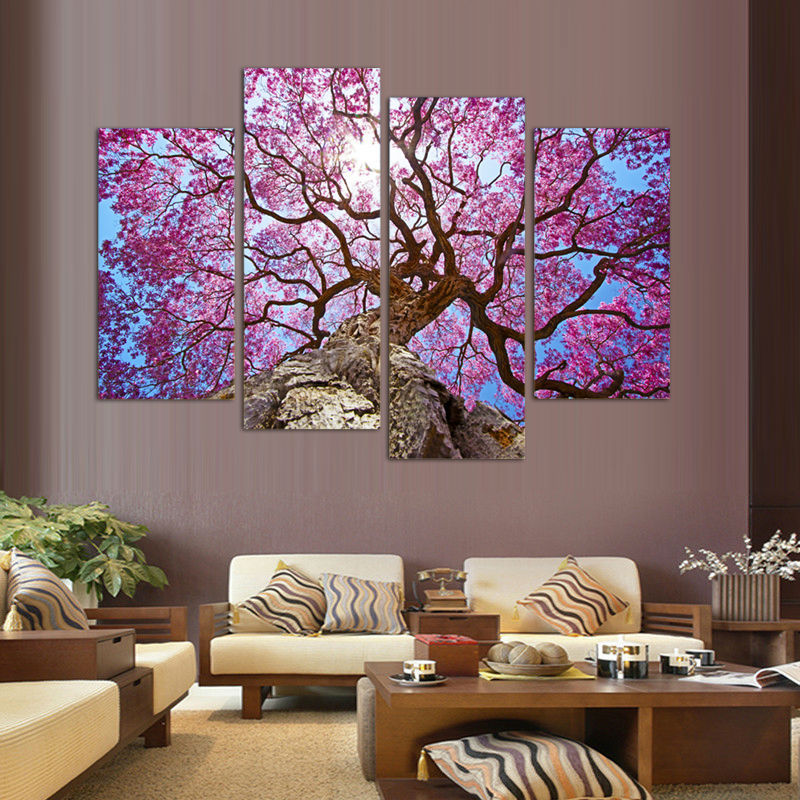 4 pieces set cherry blossoms print canvas printed painting for Cherry blossom mural on walls
