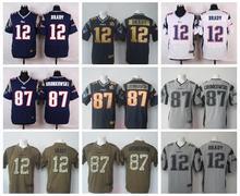 100% Stitiched,New England Patriots,Tom Brady,Rob Gronkowski with 50th SB patch(China (Mainland))