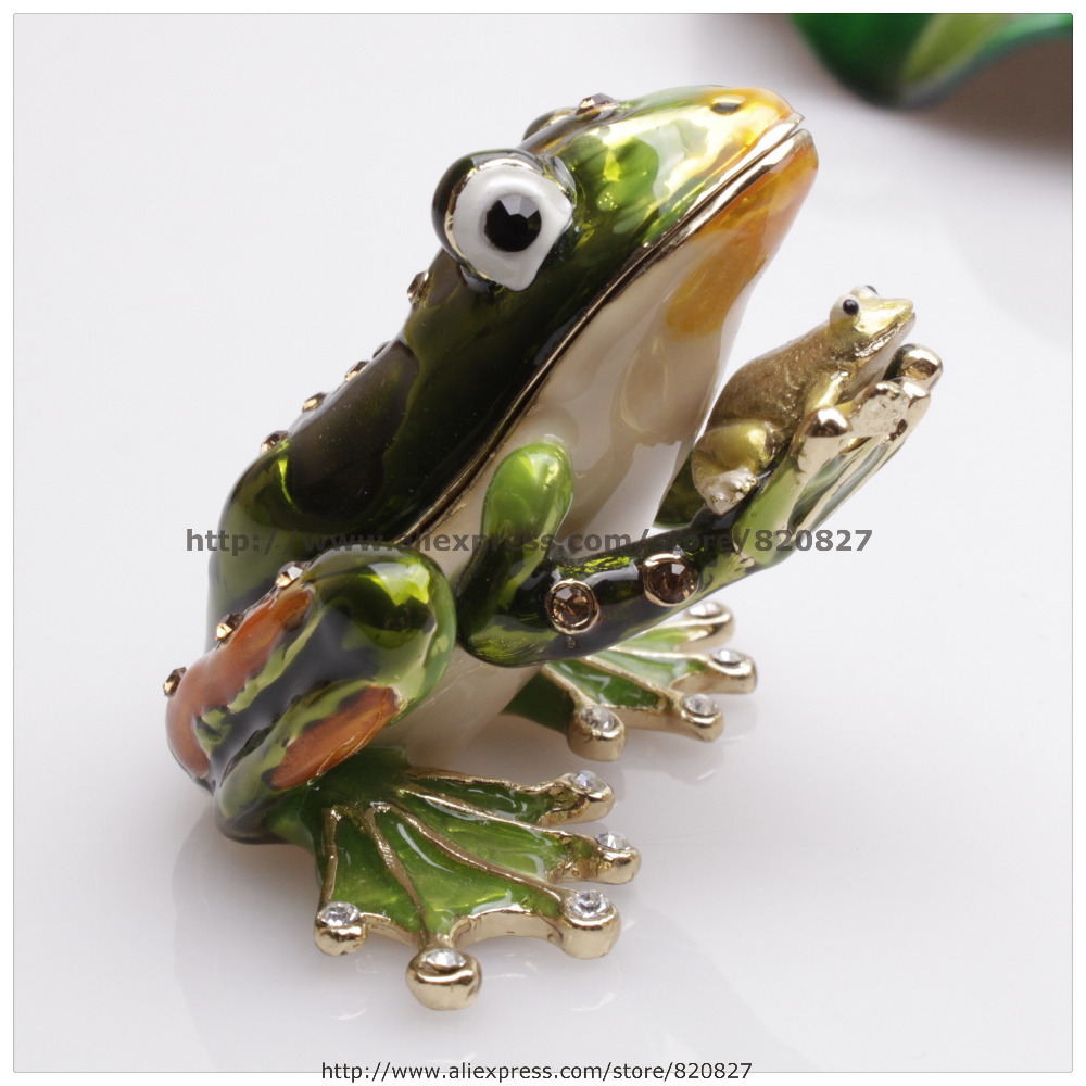 Frog Jewelry Trinket Box Decorative Collectible Enamel Insects Gift  Frog Trinket Jewelry Box Trinket Box Family