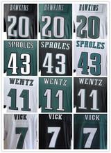 Best quality jersey,Men's11 Carson Wentz 7 Sam Bradford 20 Brian Dawkins 43 Darren Sproles elite jerseys,White,Green,Black(China (Mainland))