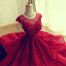 Elegant cocktail dresses Lace Scoop Open Back 2016 Red Cocktail Dress O-neck Cap Sleeve Abendkleider Real Pictures Party Dress(China (Mainland))